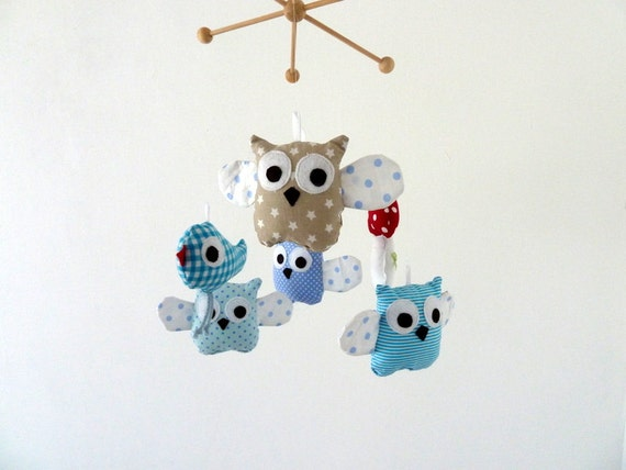 Items similar to personalized baby mobile owls baby mobile for Unusual baby mobiles