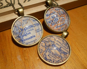 Personalized Map Pendant Necklace from Vintage Maps, Round Metal and Glass