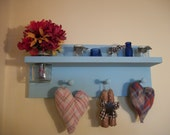 Hand Made Wooden Primitive Rustic Wall Shelf Mason Jar Vase 3 Wooden Pegs