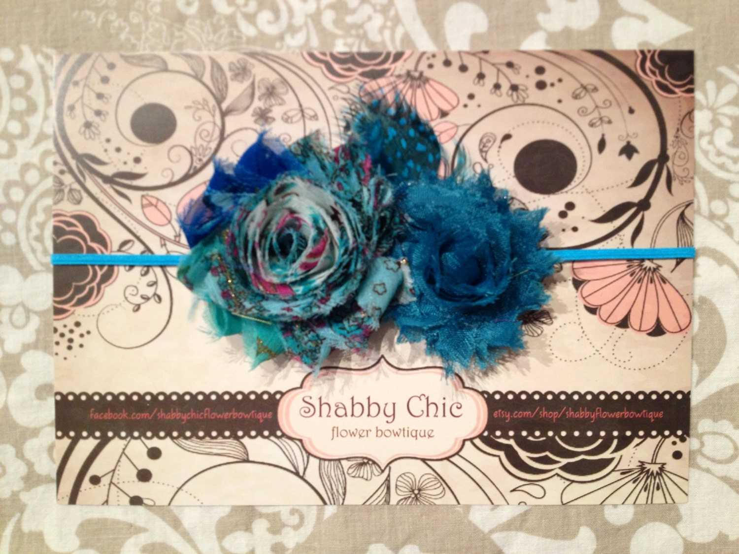 Sale teal bohemian shabby chic flower duo with teal shabby on - Telas shabby chic ...