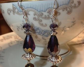 Chandelier drop purple shimmer crystal earrings