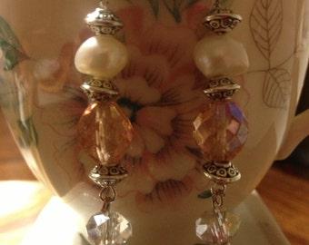 Fresh water pearl peach color crystal earrings - Earrings - Wedding Earrings