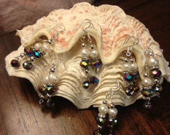 Wedding Purple/blue  Shimmery crystals with fresh water pearls earrings wedding