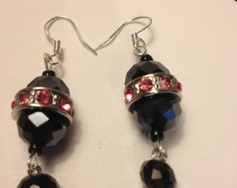 Trio black crystal earrings for bride to be or bridesmaid