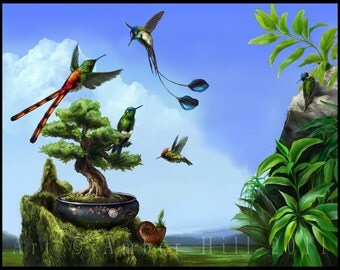 Ethereal Garden Rare Hummingbirds Fine Art Print