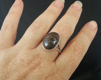 Handmade Sterling Silver Ring with Tiger Iron