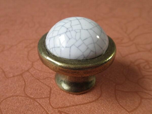 Ceramic Kitchen Cabinet Knobs Pulls Handles White / French