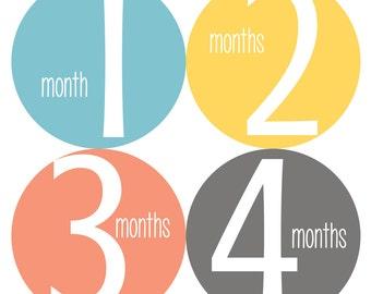 Baby Monthly Stickers, Monthly Baby Stickers, Monthly Bodysuit Stickers - Blue, Yellow, Baby Shower Gift