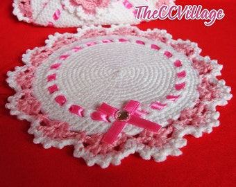 White Round Crochet potholder, Pot Holder Cover, handle cover, white and pink with flowers