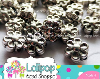 BULK FLOWER Beads Antiqued Silver Flowers Spacer Beads Daisy 6.5mm 300 Tibetan Flowers Shiny Spacers Bead Lead Free Nickel Free Cadmium Free
