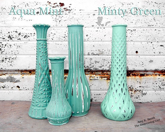 shabby chic vase one 9 tall glass bud vase painted in. Black Bedroom Furniture Sets. Home Design Ideas