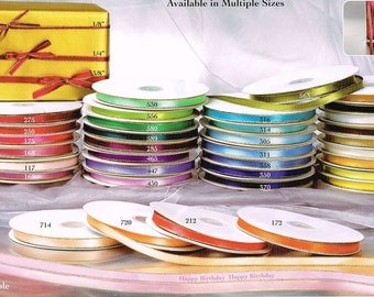 """3/8"""" Satin Ribbon Single Faced with Gold Edge 50 Yard roll 100% Polyester U-Pick Many Color"""