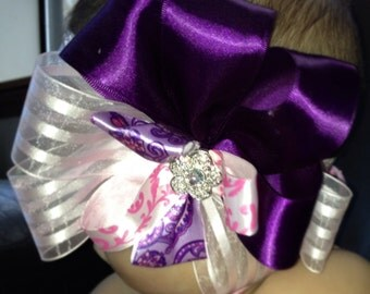 Pink and royal purple large baby bow hair bow headbands little girls baby