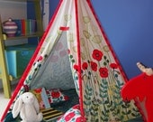 Teepee play tent - tipi - poppy meadow design - poles and floor mat included
