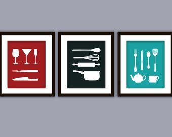 DISCOUNT Kitchen Art Print (ANY color, Set of Three)