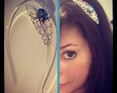 Aquarmarine Swarovski Crystal Silver Filigree Headband
