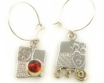 Square Asymmetrical Silver and Amber Earrings