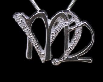 55 Virgo and Capricorn Silver Unity Pendant