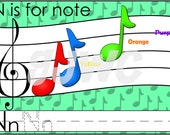 N is for Note Alphabet File Folder Game - Downloadable PDF Only