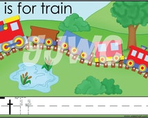 T is for Train Alphabet File Folder Game - Downloadable PDF Only