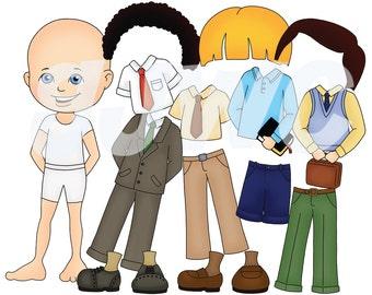 Boy DRESS UP  Children's File Folder Game - Downloadable PDF Only