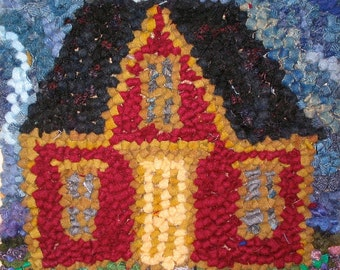Rug Hooking Kit: Pitched Roof House 11 by 11""