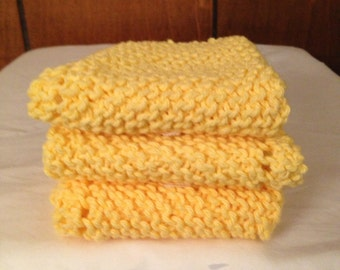 100% Cotton Eco Friendly Dish cloth/Wash cloth.Photo features Soft Cornflower Yellow..