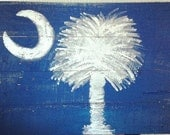 Handpainted Palmetto Tree & Moon upcycled pallet - MyCRO