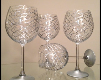 Silver Abstract Swirl'  Made to Order.  Hand painted wine glasses.  Price is for one, can do more upon request.