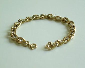 Vintage Gold Tone and Cubic Zirconia Tennis Bracelet
