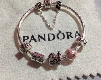 Authentic Pandora charm BRACELET With Threaded Charms It's a Girl