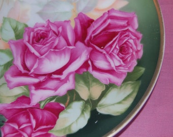 Vintage Rose Plate, Collectible Rose Plate, Hand Painted Bavarian  Red and Pink Rose plate.