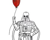 Darth Vader with Red Balloon 10 x 12 Silk Screen and Watercolor Print - MikeboneDesign