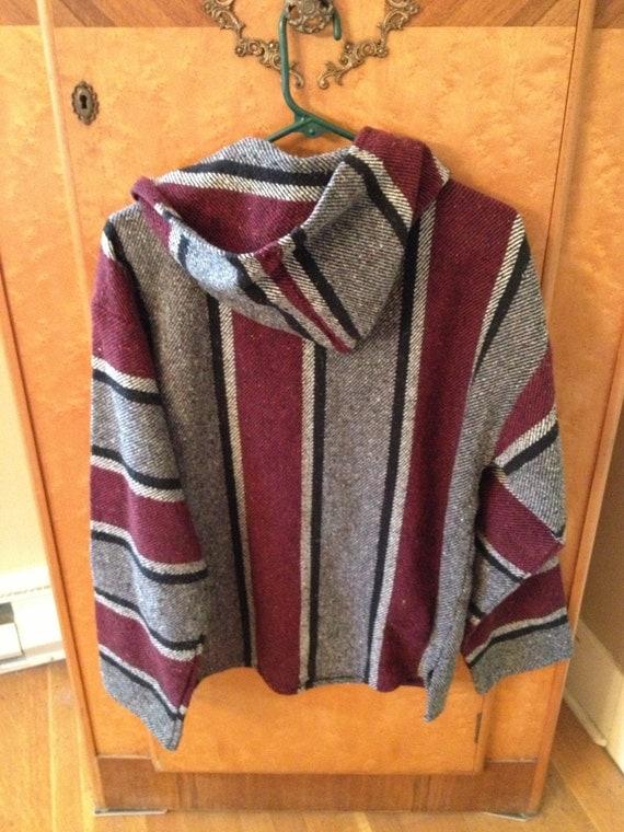 Vintage 90s Drug Rug Baja Hoodie Mexican Sweatshirt Maroon