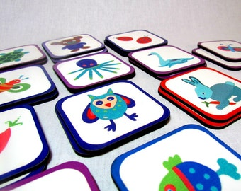 Memory Matching Game - Animal , Wood Toddler toy, Kids wooden toy