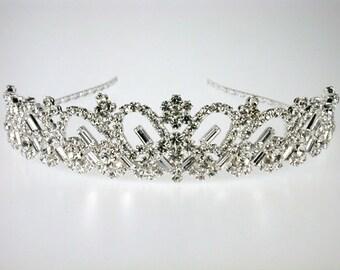Wedding Tiara - Rhinestone Tiara - Emanuelle Bridal Tiara - Bridal Hair Jewelry - Bridal Headpiece - Crystal Tiara - Silver Tiara Crown