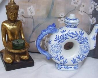 Vintage Asian Blue White Teapot Hole in the Center, Doughnut Teapot