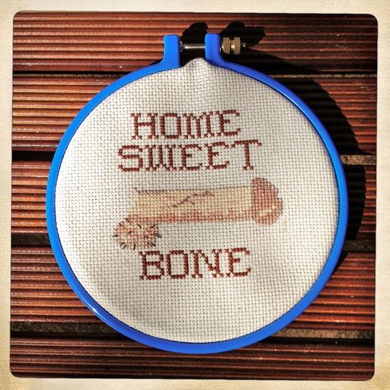 Home Sweet Bone Handmade Cross Stitch