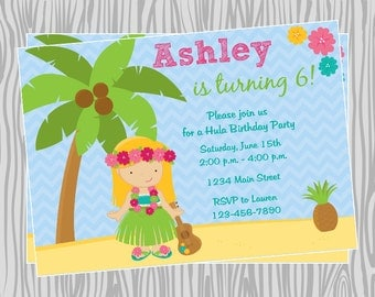 DIY - Hula Luau Girl Birthday Party Invitation - Coordinating Items Available