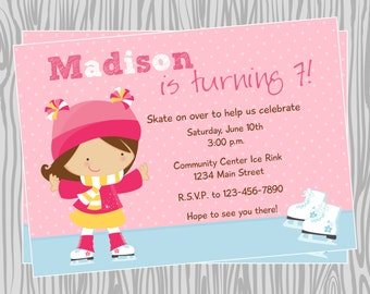 DIY - Girl Ice Skating Party Invitation - Coordinating Items Available