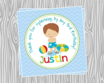 DIY - Boy Pool Party Birthday Favor Tags- Coordinating Items Available