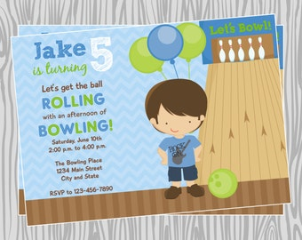 DIY - Boy Bowling Birthday Party Invitation - Coordinating Items Available