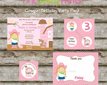 DIY - CowGirl Farm Animals Birthday Party Pack - Coordinating Items Available