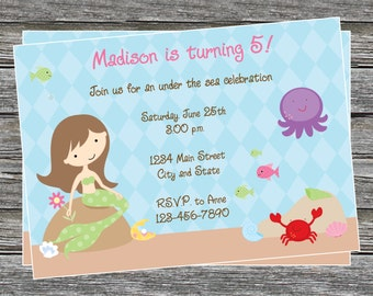 DIY - Girl Under the Sea Mermaid Invitation Birthday Invitation - Coordinating Items Available