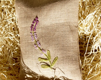 Hand Embroidered Beige Linen Sachet Set with Organic French Lavender