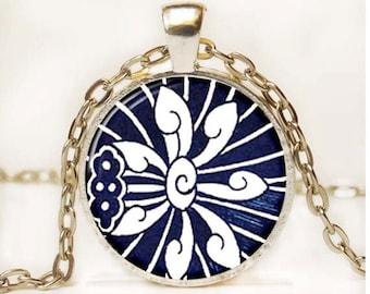 Blue and White Asian Porcelain Pendant Floral Photo Pendant Cottage Chic Pendant Necklace 4
