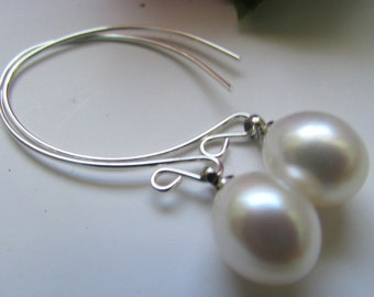 Lovely White Rice Fresh Water Pearl Dangle Sterling Silver Earrings
