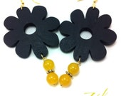Yellow Agate and Wood Earrings