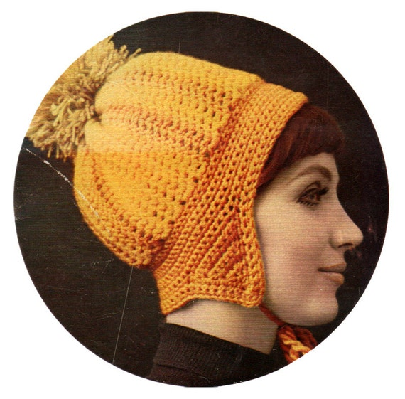 Crochet Pattern Motorcycle Cap Winter Hat with Ear Flaps