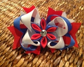 July 4th Layered Boutique Hair Bow in Red, White & Blue